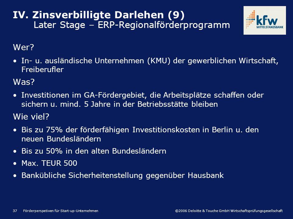 ©2006 Deloitte & Touche GmbH Wirtschaftsprüfungsgesellschaft Förderperspetiven für Start-up-Unternehmen37 Wer? In- u. ausländische Unternehmen (KMU) d
