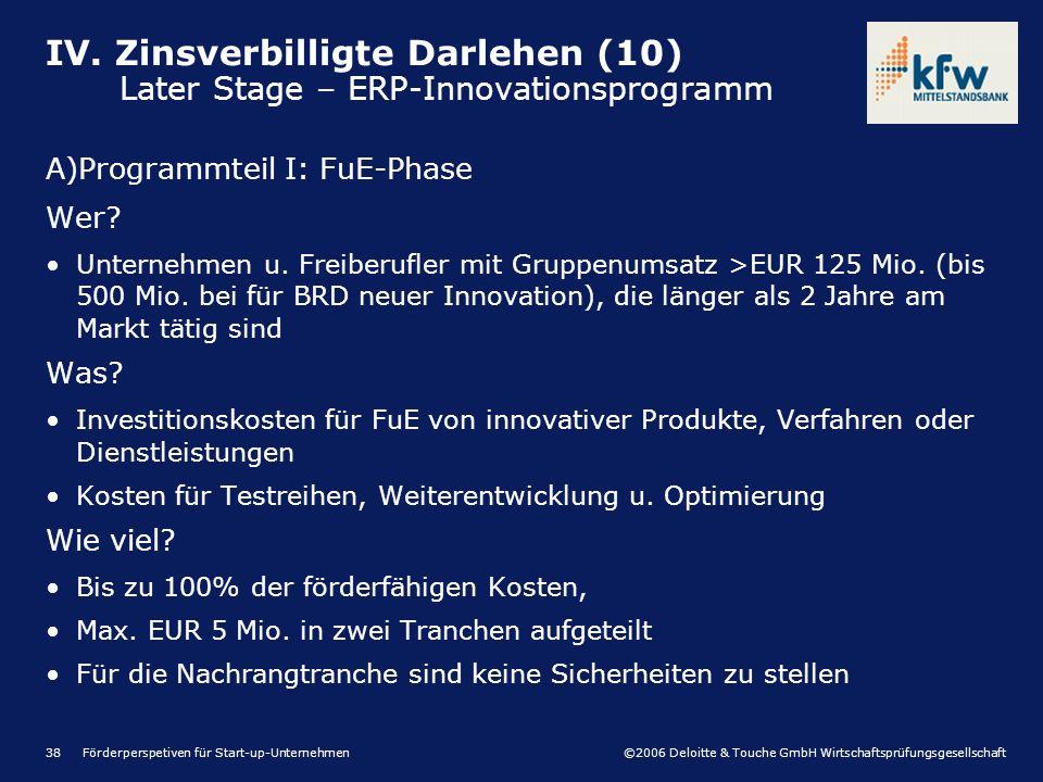 ©2006 Deloitte & Touche GmbH Wirtschaftsprüfungsgesellschaft Förderperspetiven für Start-up-Unternehmen38 A)Programmteil I: FuE-Phase Wer? Unternehmen