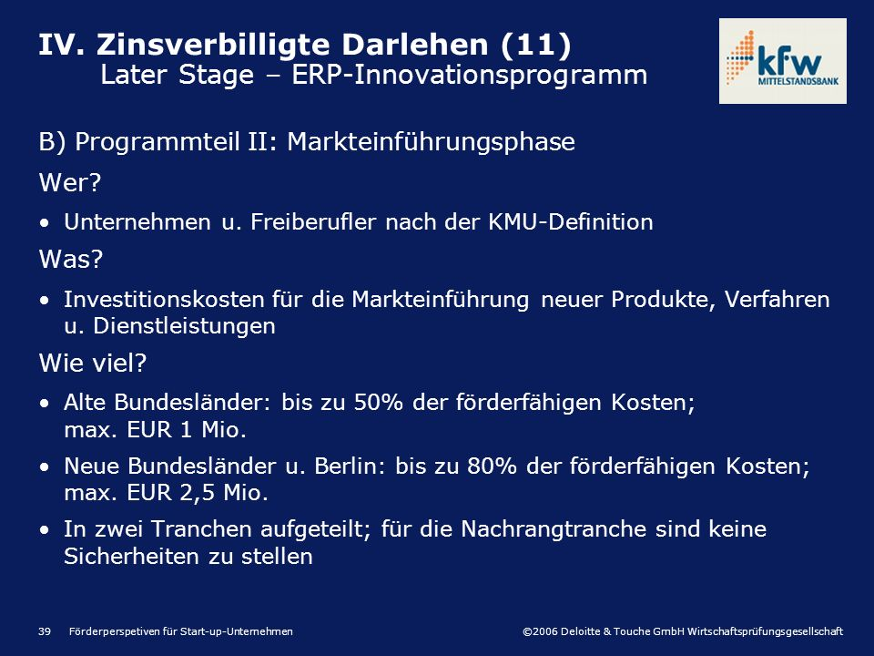 ©2006 Deloitte & Touche GmbH Wirtschaftsprüfungsgesellschaft Förderperspetiven für Start-up-Unternehmen39 B) Programmteil II: Markteinführungsphase We