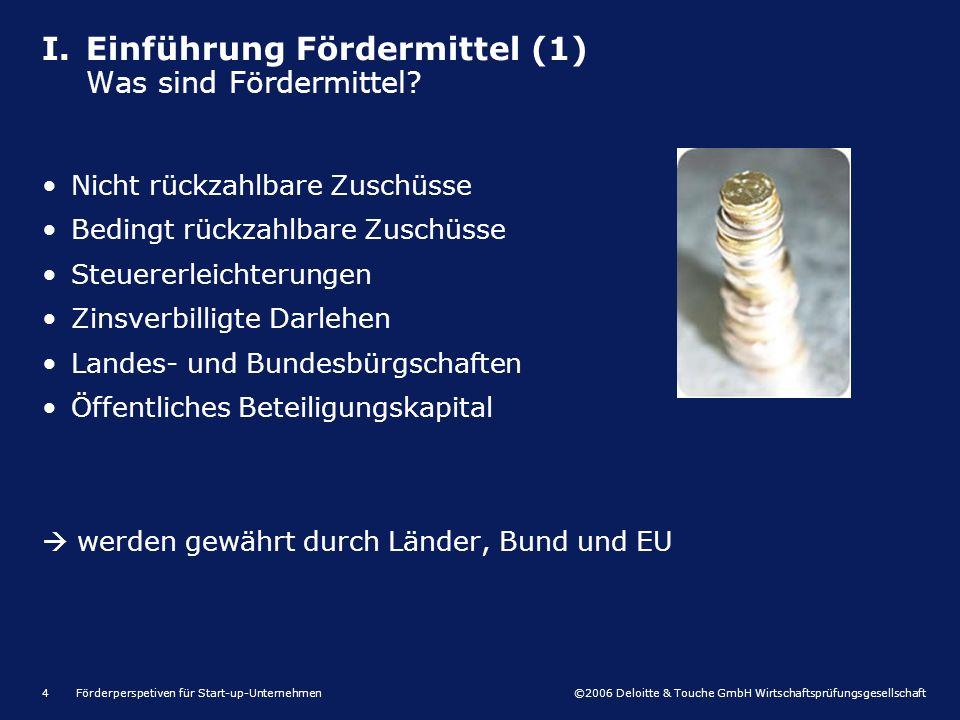 ©2006 Deloitte & Touche GmbH Wirtschaftsprüfungsgesellschaft Förderperspetiven für Start-up-Unternehmen15 I.Einführung Fördermittel II.Investitionsförderung III.Innovationsförderung IV.Zinsverbilligte Darlehen V.