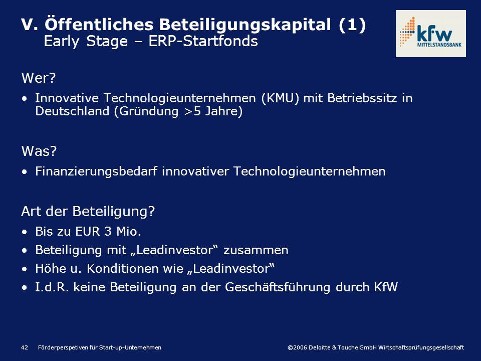 ©2006 Deloitte & Touche GmbH Wirtschaftsprüfungsgesellschaft Förderperspetiven für Start-up-Unternehmen42 Wer.