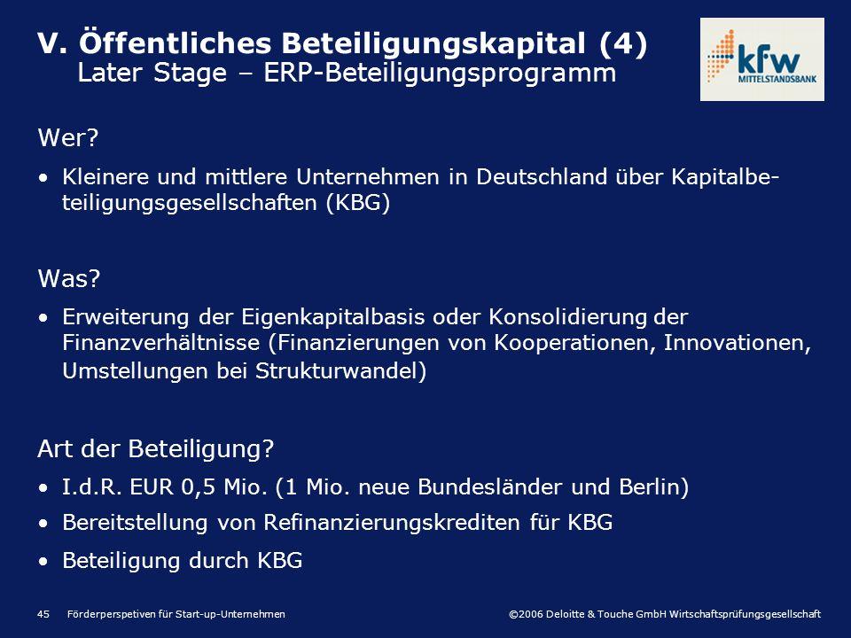 ©2006 Deloitte & Touche GmbH Wirtschaftsprüfungsgesellschaft Förderperspetiven für Start-up-Unternehmen45 Wer? Kleinere und mittlere Unternehmen in De