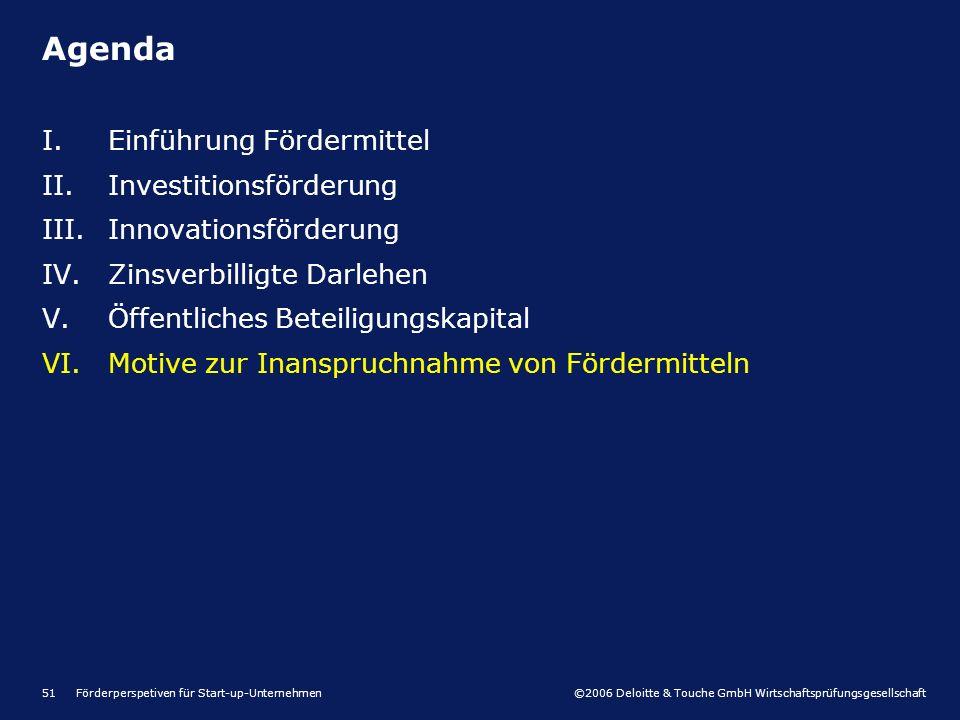 ©2006 Deloitte & Touche GmbH Wirtschaftsprüfungsgesellschaft Förderperspetiven für Start-up-Unternehmen51 I.Einführung Fördermittel II.Investitionsförderung III.Innovationsförderung IV.Zinsverbilligte Darlehen V.