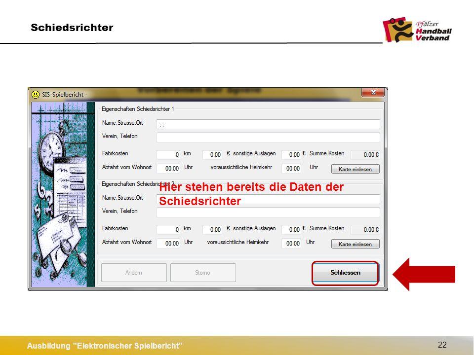"""Ausbildung Elektronischer Spielbericht 23 Spieler/-innen """"Heim & """"Gast laden kein Kader angelegt Kader mit bis zu 20 Spieler angelegt"""