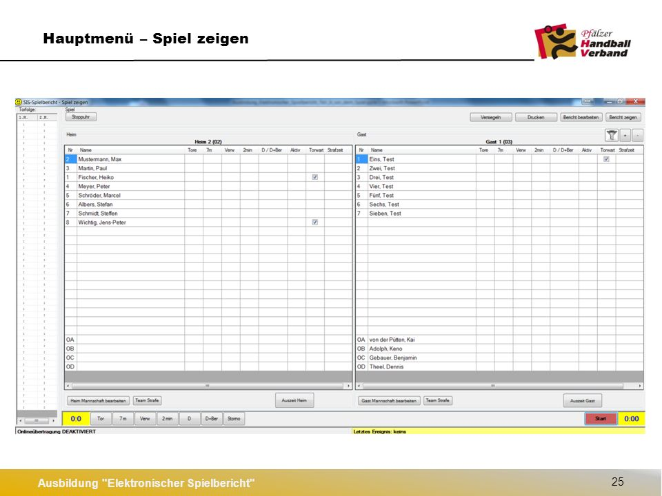 Ausbildung Elektronischer Spielbericht 26 SIS-Spielbericht starten und Login (Offline) SIS-Spielbericht starten SIS-Login (Offline)  Nur möglich, wenn das Spiel vorher angelegt wurde.