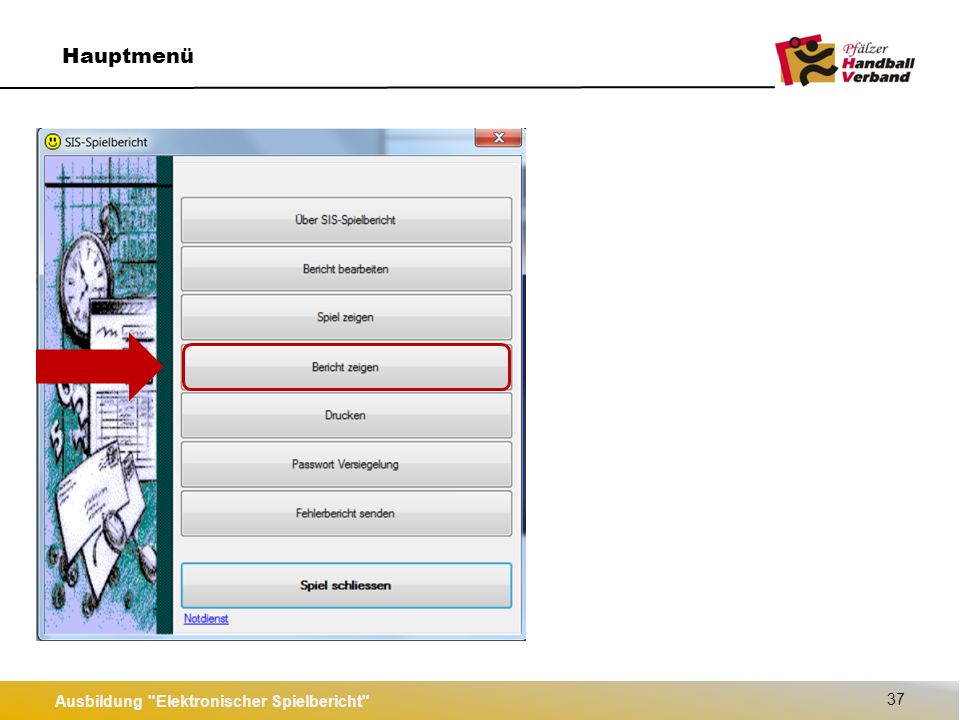 Ausbildung Elektronischer Spielbericht 37 Hauptmenü