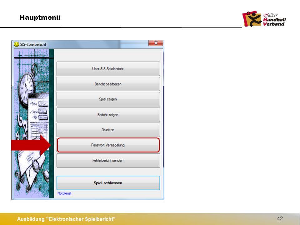 Ausbildung Elektronischer Spielbericht 42 Hauptmenü