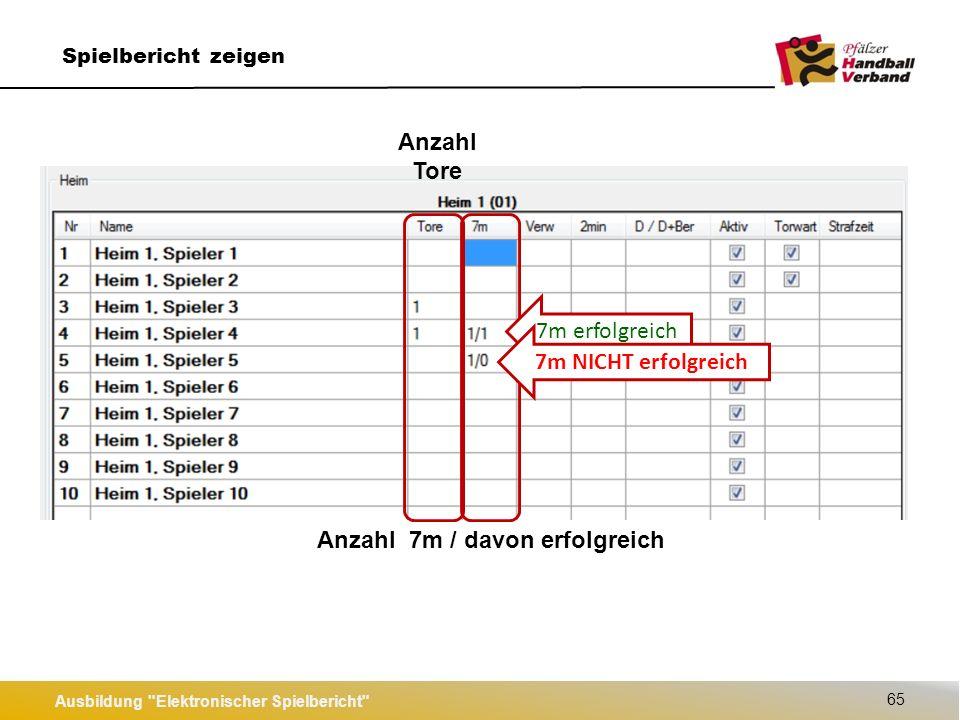 Ausbildung Elektronischer Spielbericht 65 Spielbericht zeigen 7m erfolgreich 7m NICHT erfolgreich Anzahl Tore Anzahl 7m / davon erfolgreich