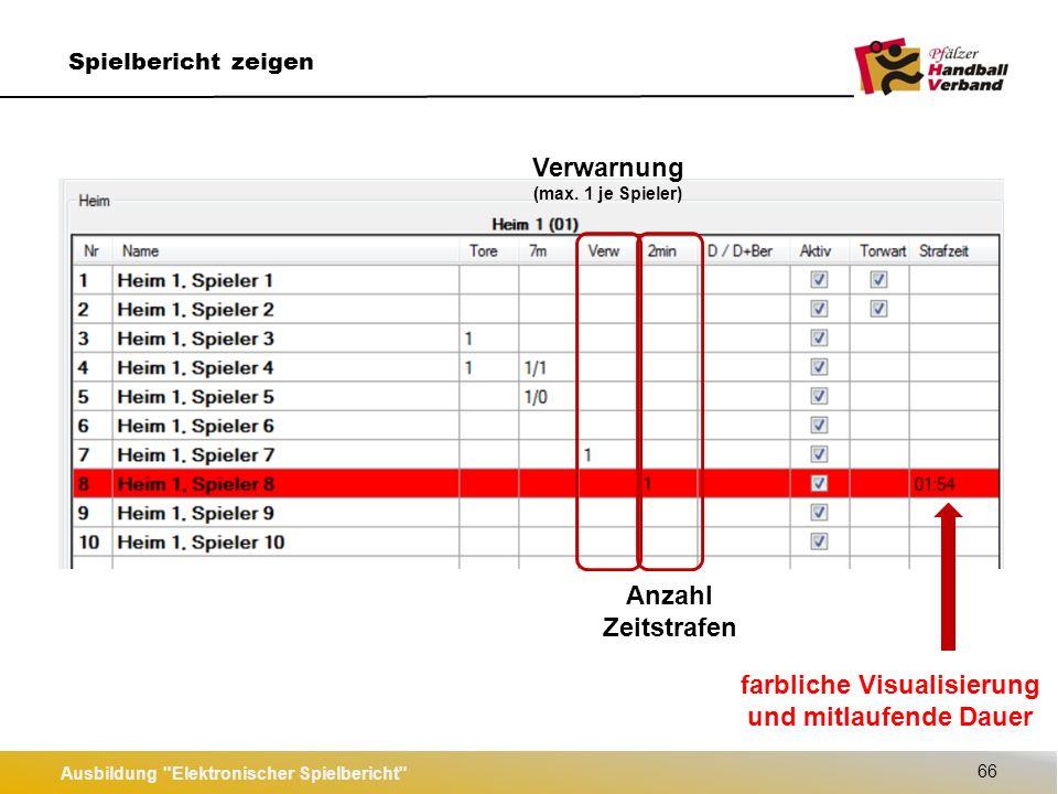 Ausbildung Elektronischer Spielbericht 66 Spielbericht zeigen Verwarnung (max.