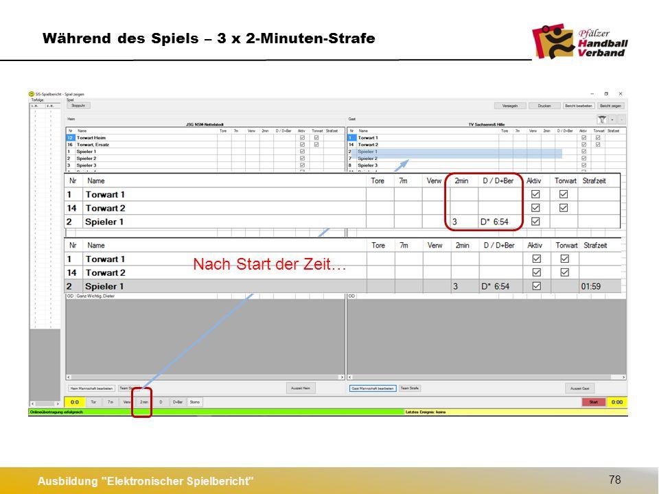 Ausbildung Elektronischer Spielbericht 79 Während des Spiels – Disqualifikation Nach Start der Zeit…