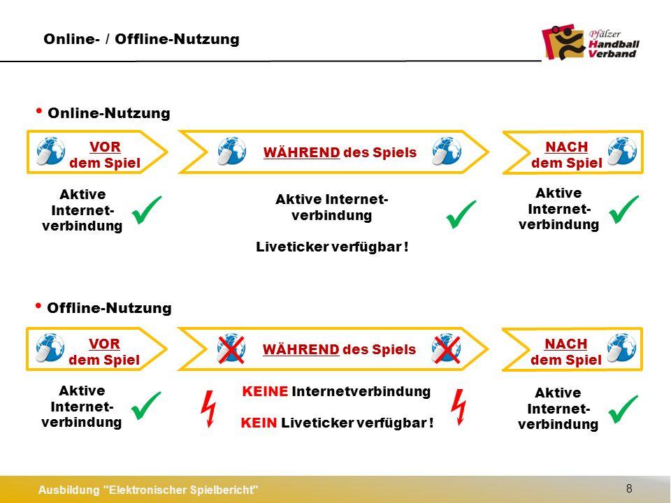 Notfall-Nutzung Ausbildung Elektronischer Spielbericht 9 VOR dem Spiel NACH dem Spiel WÄHREND des Spiels KEINE Internetverbindung KEIN Liveticker verfügbar .