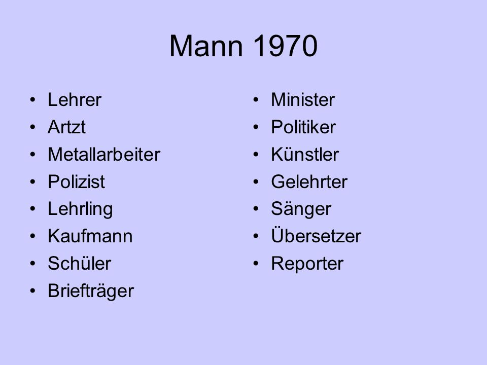 Mann 1970 Lehrer Artzt Metallarbeiter Polizist Lehrling Kaufmann Schüler Briefträger Minister Politiker Künstler Gelehrter Sänger Übersetzer Reporter