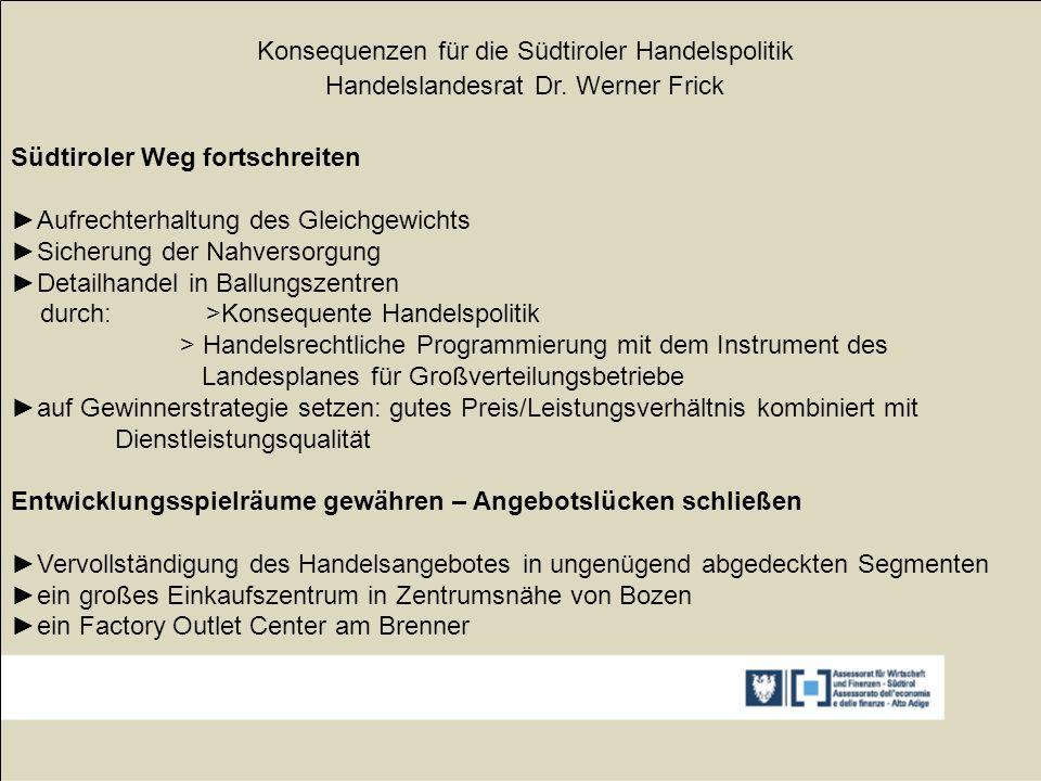 Konsequenzen für die Südtiroler Handelspolitik Handelslandesrat Dr. Werner Frick Südtiroler Weg fortschreiten ►Aufrechterhaltung des Gleichgewichts ►S