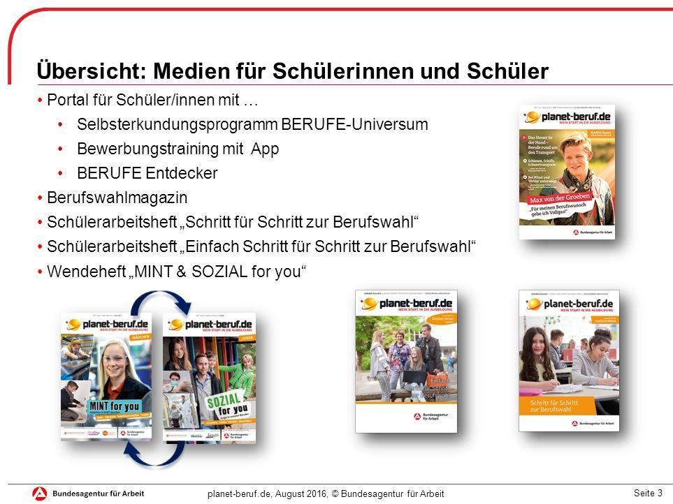 Seite 3 planet-beruf.de, August 2016, © Bundesagentur für Arbeit Übersicht: Medien für Schülerinnen und Schüler Portal für Schüler/innen mit … Selbste
