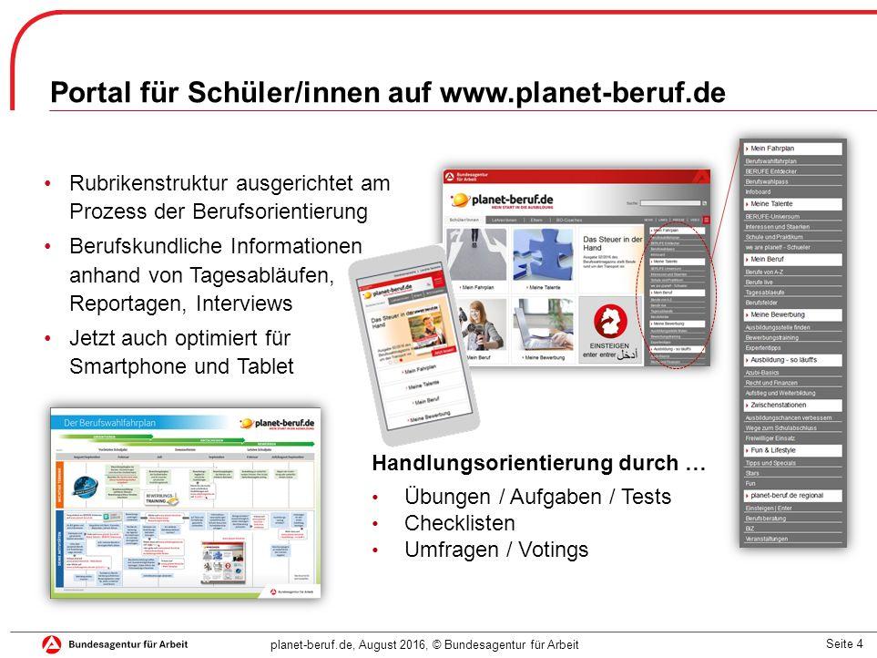 Seite 4 planet-beruf.de, August 2016, © Bundesagentur für Arbeit Portal für Schüler/innen auf www.planet-beruf.de Rubrikenstruktur ausgerichtet am Pro