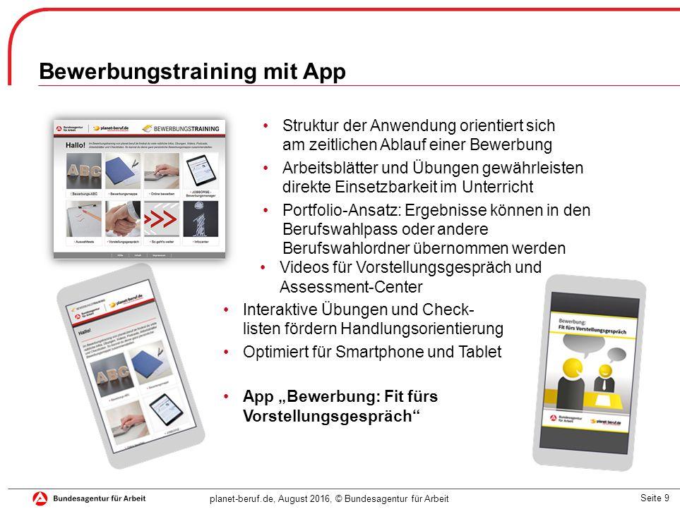 Seite 9 planet-beruf.de, August 2016, © Bundesagentur für Arbeit Struktur der Anwendung orientiert sich am zeitlichen Ablauf einer Bewerbung Arbeitsbl