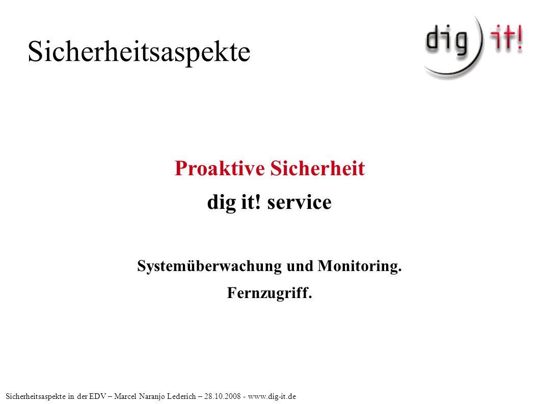 Sicherheitsaspekte Sicherheitsaspekte in der EDV – Marcel Naranjo Lederich – 28.10.2008 - www.dig-it.de Proaktive Sicherheit dig it.