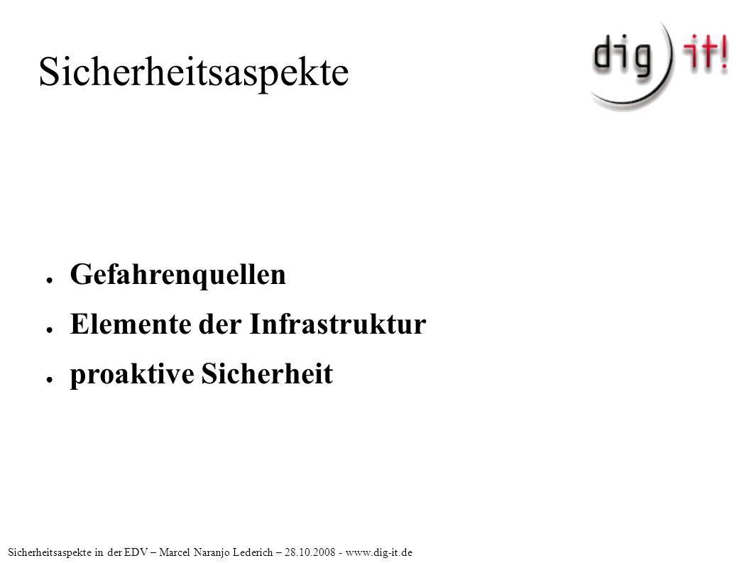 Sicherheitsaspekte Sicherheitsaspekte in der EDV – Marcel Naranjo Lederich – 28.10.2008 - www.dig-it.de Gefahrenquellen Gefahren von aussen: Einbruch, Diebstahl, Aushorchen Gefahren von innen: Wasser, Feuer, NutzerInnen systemimmanente Gefahren: Hard- & Software