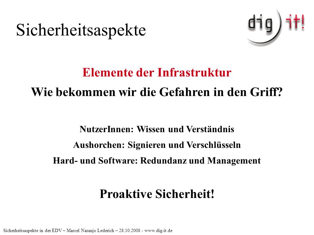 Sicherheitsaspekte Sicherheitsaspekte in der EDV – Marcel Naranjo Lederich – 28.10.2008 - www.dig-it.de Proaktive Sicherheit USV, Plattenspiegelung, Datensicherung.