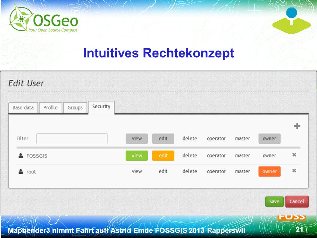 Mapbender3 nimmt Fahrt auf! Astrid Emde FOSSGIS 2013 Rapperswil 21 / Intuitives Rechtekonzept