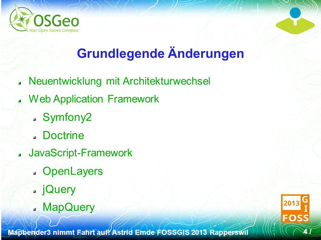 Mapbender3 nimmt Fahrt auf! Astrid Emde FOSSGIS 2013 Rapperswil 5 / Geoportal.DE