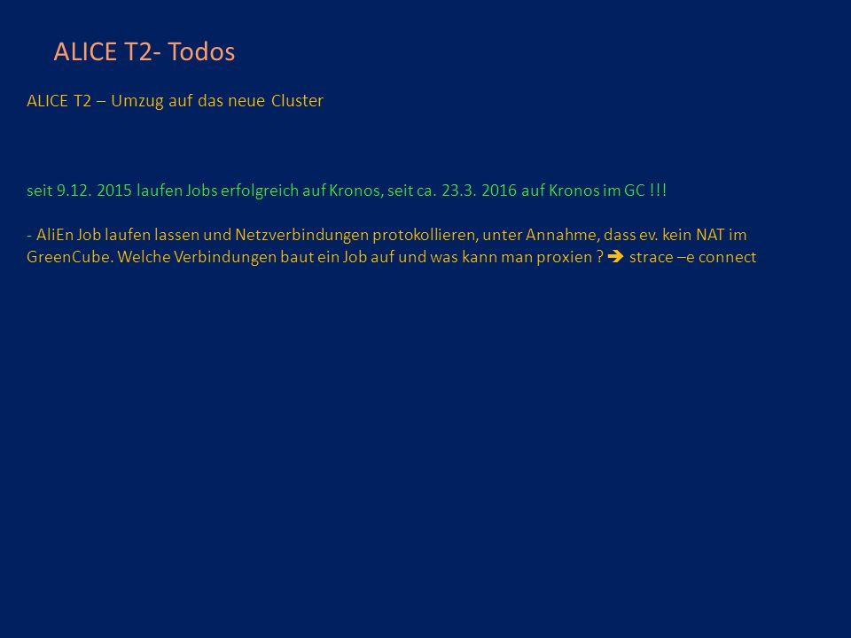 ALICE T2- Todos ALICE T2 – Umzug auf das neue Cluster seit 9.12.