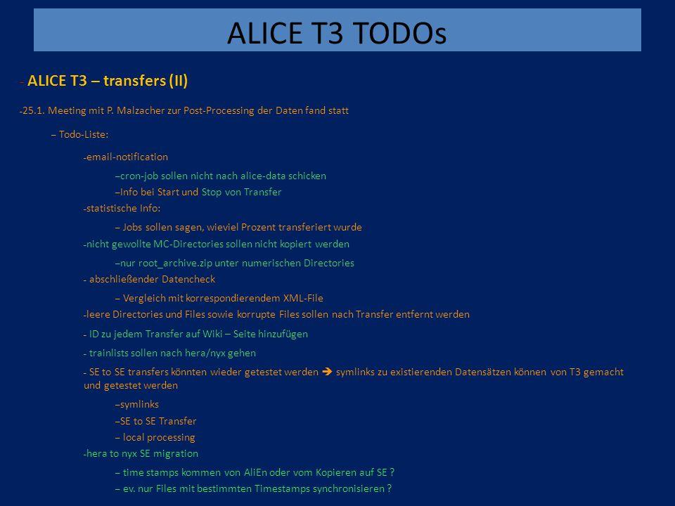 ALICE T3 TODOs - ALICE T3 – transfers (II) – 25.1.