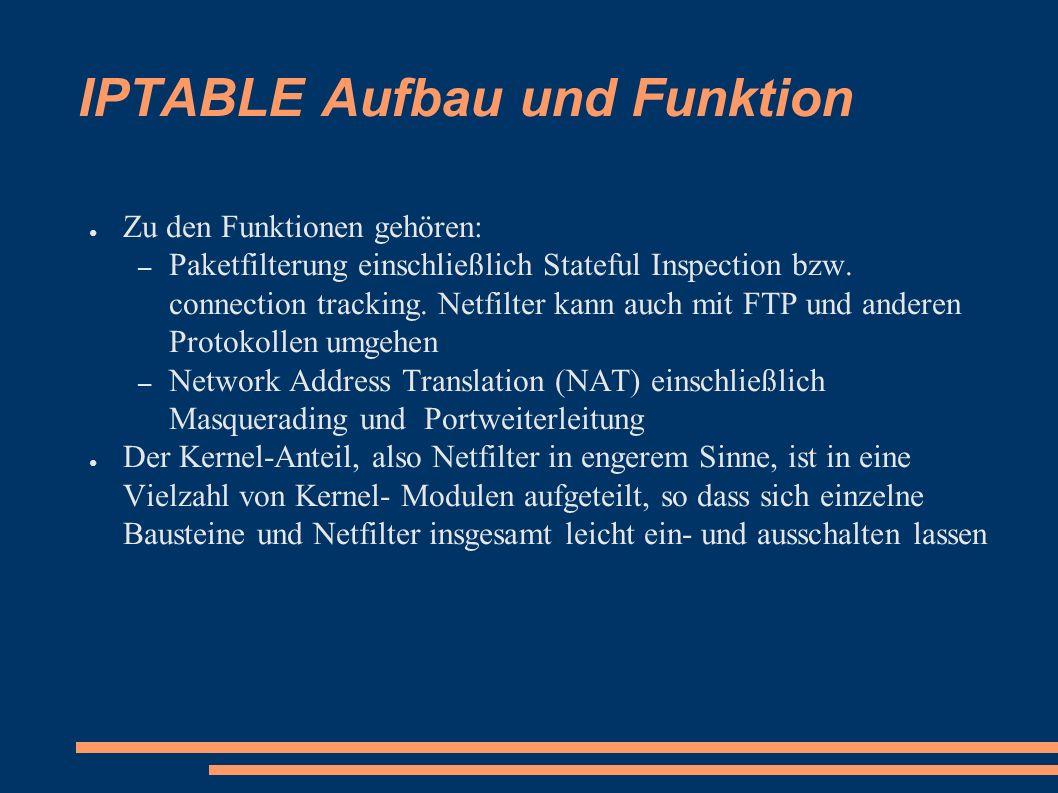 IPTABLE Aufbau und Funktion ● Zu den Funktionen gehören: – Paketfilterung einschließlich Stateful Inspection bzw. connection tracking. Netfilter kann