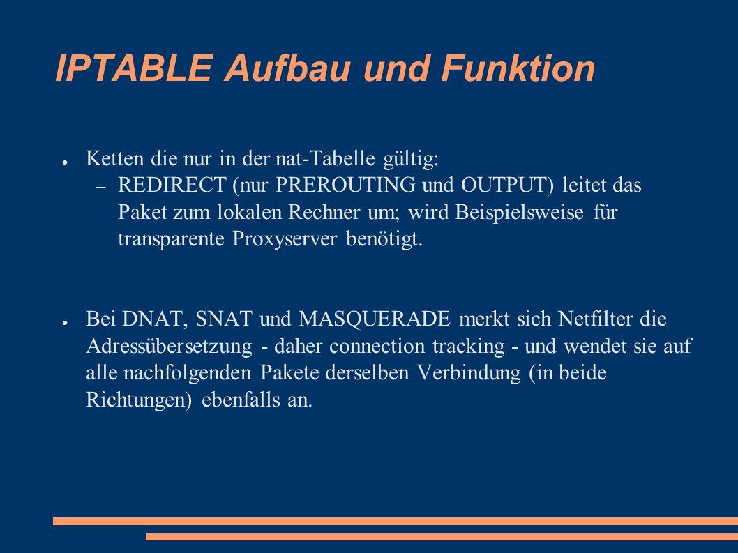 IPTABLE Aufbau und Funktion ● Ketten die nur in der nat-Tabelle gültig: – REDIRECT (nur PREROUTING und OUTPUT) leitet das Paket zum lokalen Rechner um