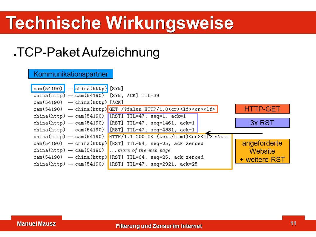 Manuel Mausz Filterung und Zensur im Internet 11 Technische Wirkungsweise ● TCP-Paket Aufzeichnung Kommunikationspartner HTTP-GET 3x RST angeforderte Website + weitere RST