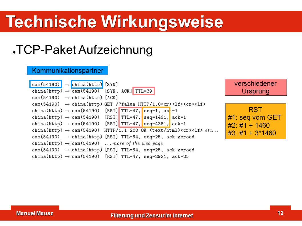 Manuel Mausz Filterung und Zensur im Internet 12 Technische Wirkungsweise ● TCP-Paket Aufzeichnung Kommunikationspartner verschiedener Ursprung RST #1: seq vom GET #2: #1 + 1460 #3: #1 + 3*1460