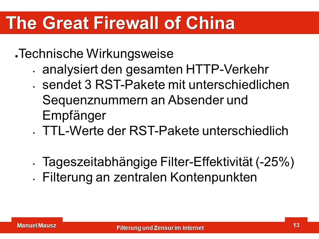 Manuel Mausz Filterung und Zensur im Internet 13 The Great Firewall of China ● Technische Wirkungsweise analysiert den gesamten HTTP-Verkehr sendet 3 RST-Pakete mit unterschiedlichen Sequenznummern an Absender und Empfänger TTL-Werte der RST-Pakete unterschiedlich Tageszeitabhängige Filter-Effektivität (-25%) Filterung an zentralen Kontenpunkten