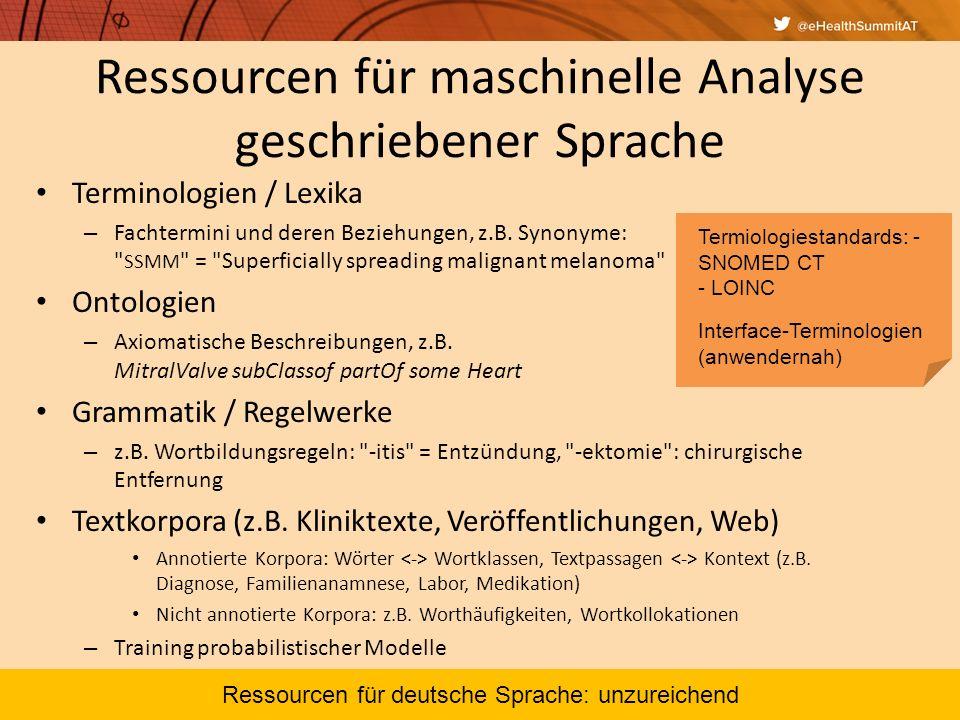 Ressourcen für maschinelle Analyse geschriebener Sprache Terminologien / Lexika – Fachtermini und deren Beziehungen, z.B. Synonyme: