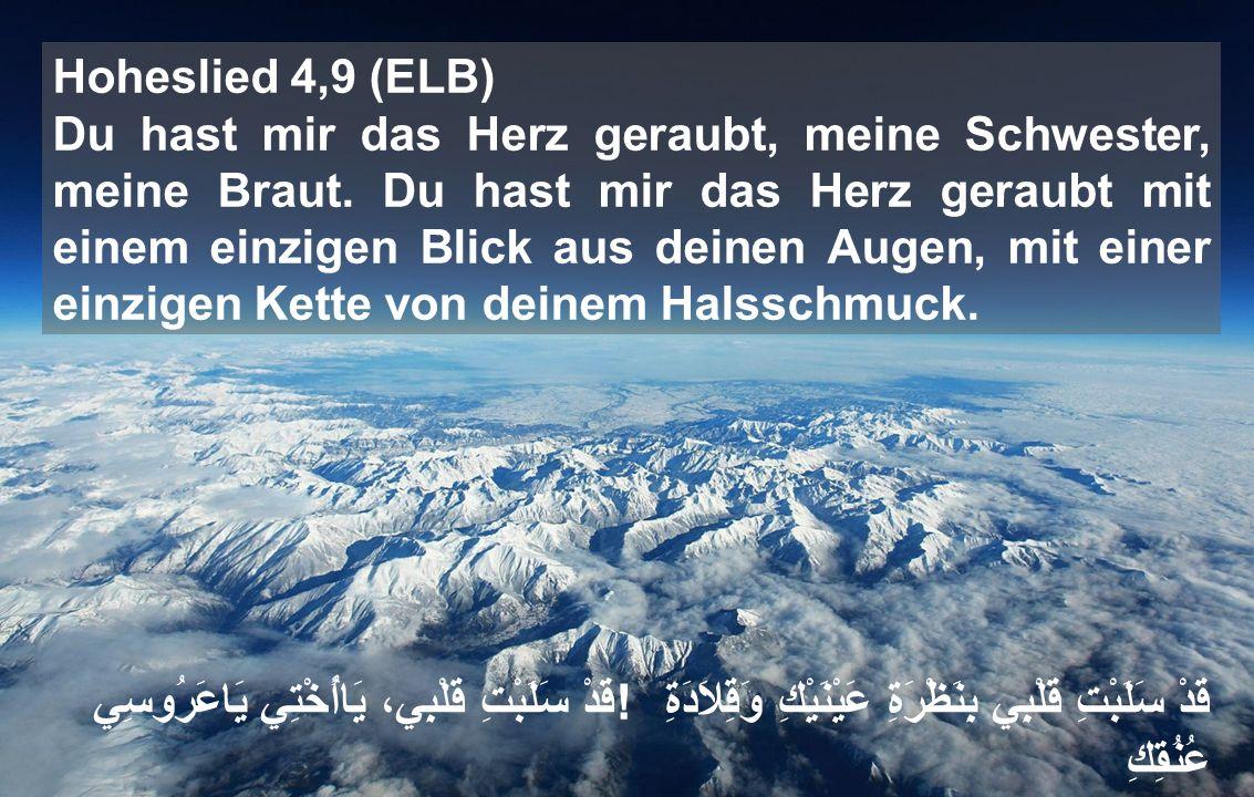 Hoheslied 4,9 (ELB) Du hast mir das Herz geraubt, meine Schwester, meine Braut.