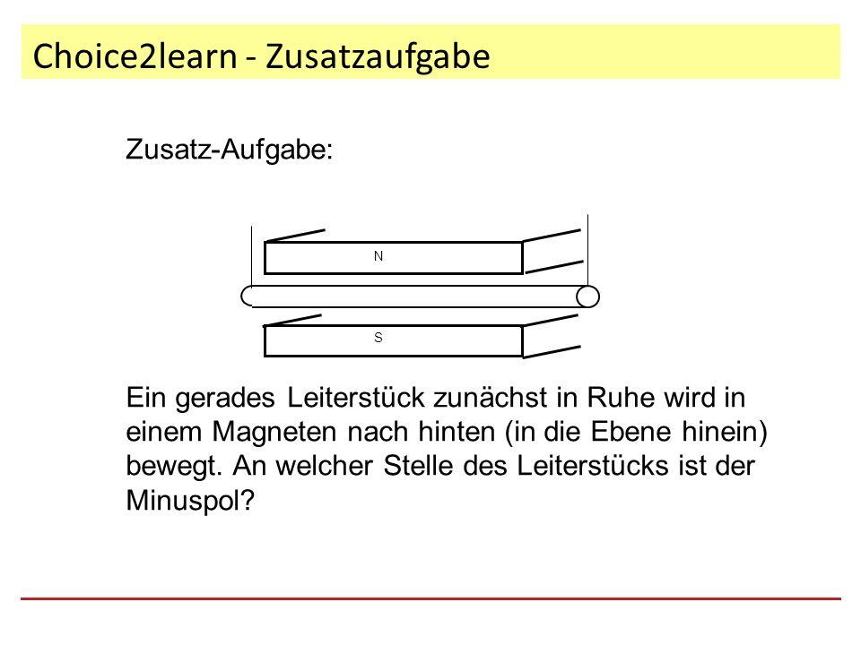 Choice2learn - Zusatzaufgabe Zusatz-Aufgabe: Ein gerades Leiterstück zunächst in Ruhe wird in einem Magneten nach hinten (in die Ebene hinein) bewegt.