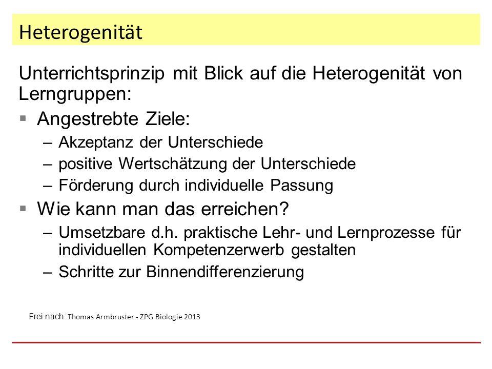 Heterogenität und Differenzierung 1.Innere Differenzierung: Meint alle Formen und Möglichkeiten durch die in einer heterogenen Lerngruppe bzw.