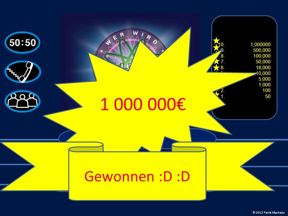 12. 1000000€ 11. 500000 € 10. 50000 € 9. 30000 € 8.