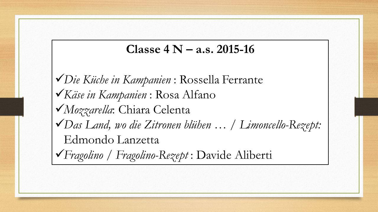 Classe 4 N – a.s. 2015-16 Die Küche in Kampanien : Rossella Ferrante Käse in Kampanien : Rosa Alfano Mozzarella: Chiara Celenta Das Land, wo die Zitro