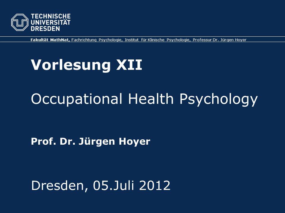 Fakultät MathNat, Fachrichtung Psychologie, Institut für Klinische Psychologie, Professur Dr.