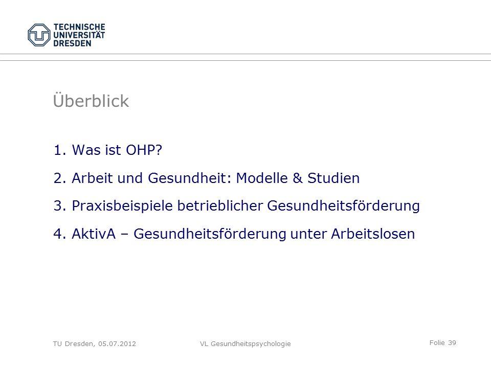 Folie 39 VL Gesundheitspsychologie Überblick 1.Was ist OHP.