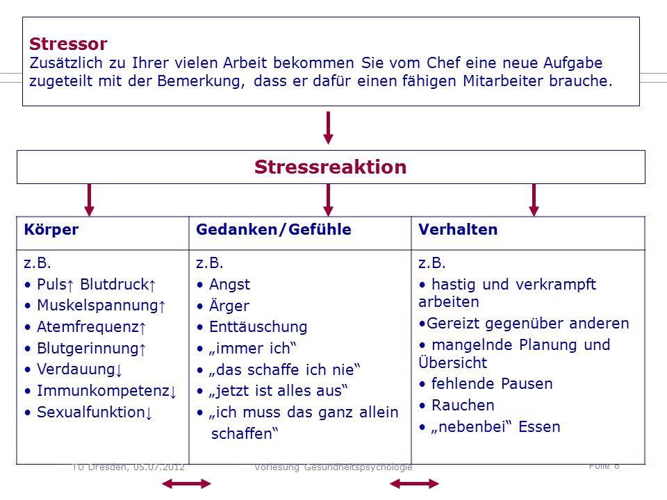 Folie 6 Stressor Zusätzlich zu Ihrer vielen Arbeit bekommen Sie vom Chef eine neue Aufgabe zugeteilt mit der Bemerkung, dass er dafür einen fähigen Mitarbeiter brauche.