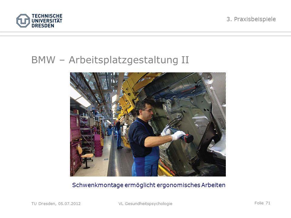 Folie 71 VL Gesundheitspsychologie BMW – Arbeitsplatzgestaltung II Schwenkmontage ermöglicht ergonomisches Arbeiten 3.