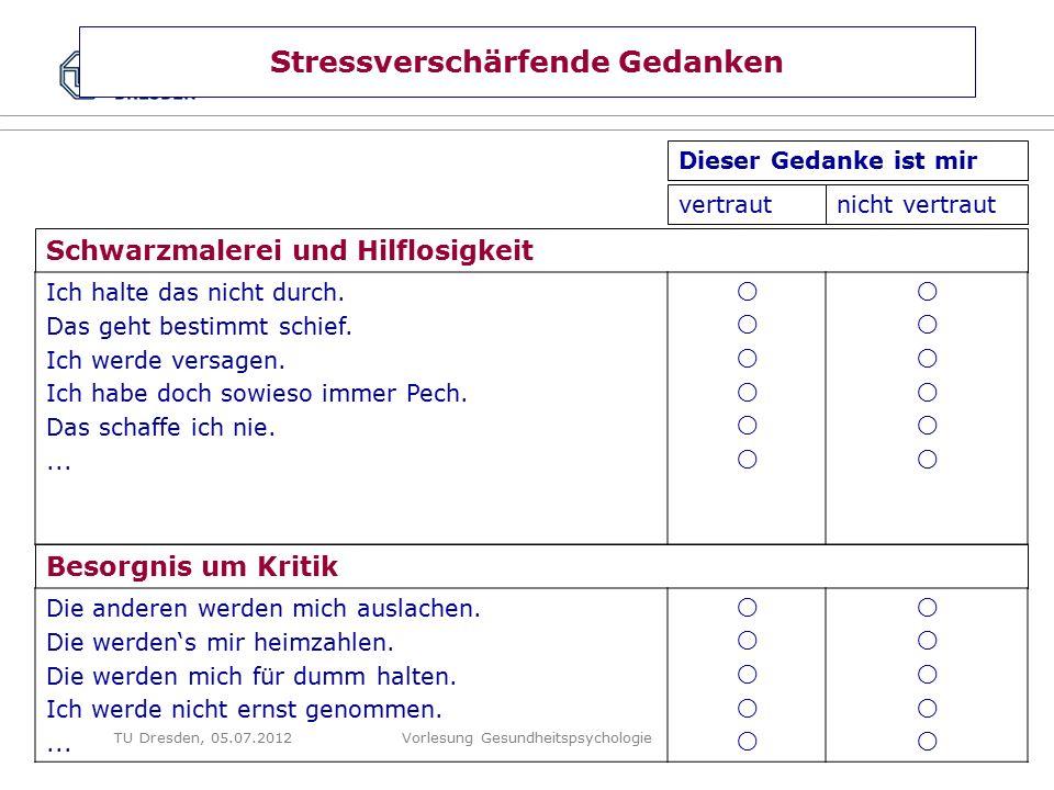 Folie 60 VL GesundheitspsychologieTU Dresden, 05.07.2012