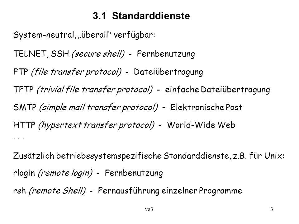 "vs3 3 3.1 Standarddienste System-neutral, ""überall verfügbar: TELNET, SSH (secure shell) - Fernbenutzung FTP (file transfer protocol) - Dateiübertragung TFTP (trivial file transfer protocol) - einfache Dateiübertragung SMTP (simple mail transfer protocol) - Elektronische Post HTTP (hypertext transfer protocol) - World-Wide Web..."