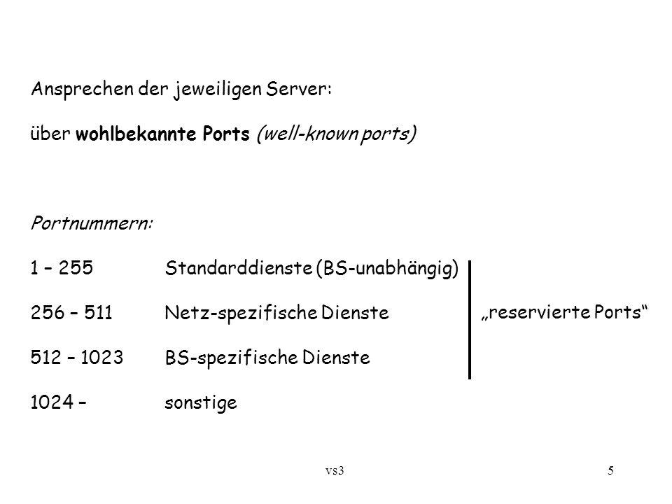 """vs3 5 Ansprechen der jeweiligen Server: über wohlbekannte Ports (well-known ports) Portnummern: 1 – 255Standarddienste (BS-unabhängig) 256 – 511Netz-spezifische Dienste 512 – 1023BS-spezifische Dienste 1024 – sonstige """"reservierte Ports"""
