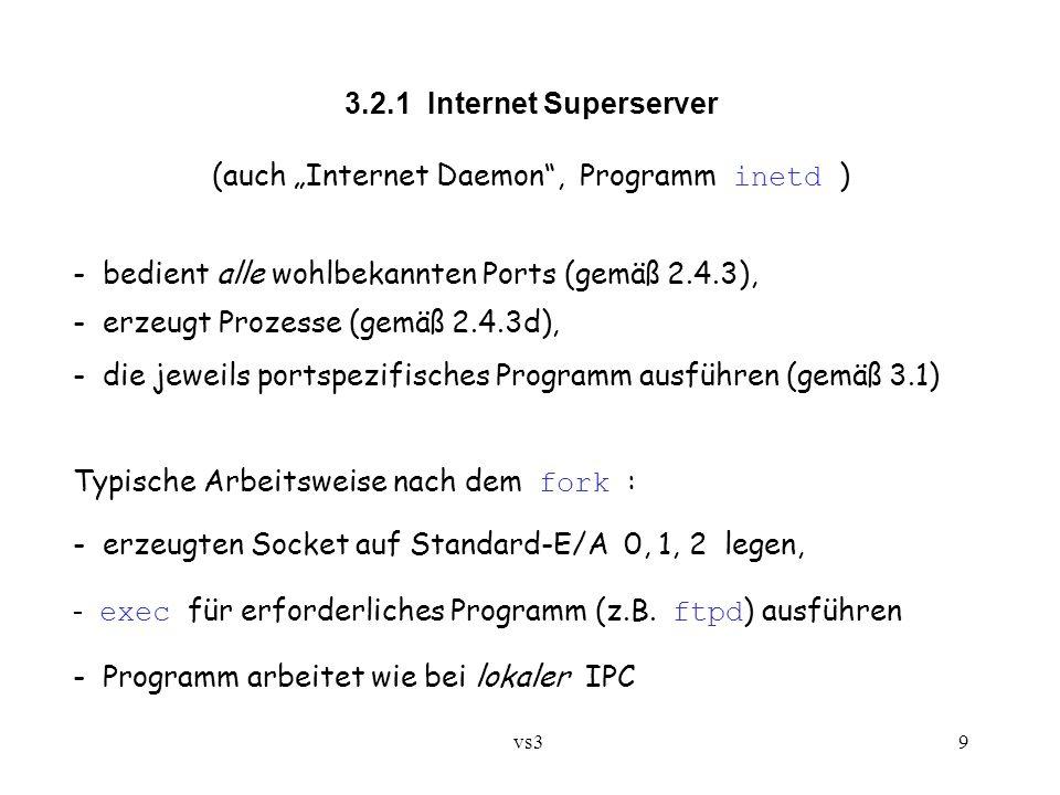 """vs3 9 3.2.1 Internet Superserver (auch """"Internet Daemon , Programm inetd ) - bedient alle wohlbekannten Ports (gemäß 2.4.3), - erzeugt Prozesse (gemäß 2.4.3d), - die jeweils portspezifisches Programm ausführen (gemäß 3.1) Typische Arbeitsweise nach dem fork : - erzeugten Socket auf Standard-E/A 0, 1, 2 legen, - exec für erforderliches Programm (z.B."""