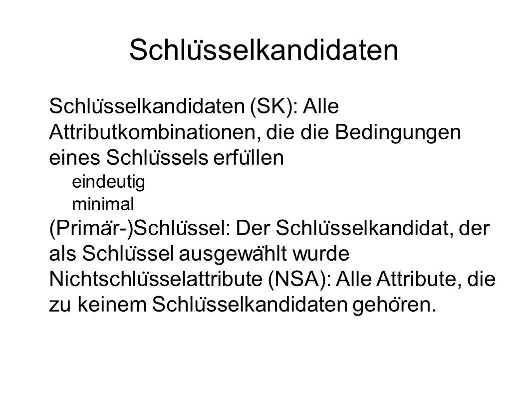 Schlu ̈ sselkandidaten Schlu ̈ sselkandidaten (SK): Alle Attributkombinationen, die die Bedingungen eines Schlu ̈ ssels erfu ̈ llen  eindeutig  minimal (Prima ̈ r-)Schlu ̈ ssel: Der Schlu ̈ sselkandidat, der als Schlu ̈ ssel ausgewa ̈ hlt wurde Nichtschlu ̈ sselattribute (NSA): Alle Attribute, die zu keinem Schlu ̈ sselkandidaten geho ̈ ren.