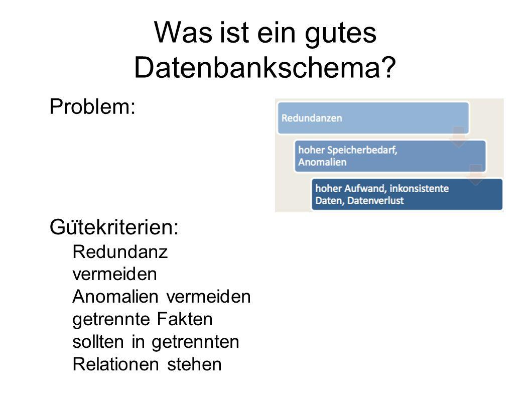 Problem: Gu ̈ tekriterien:  Redundanz vermeiden  Anomalien vermeiden  getrennte Fakten sollten in getrennten Relationen stehen