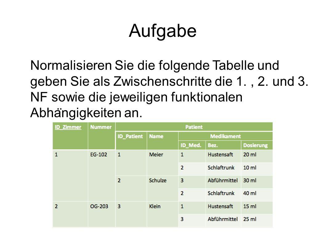Aufgabe Normalisieren Sie die folgende Tabelle und geben Sie als Zwischenschritte die 1., 2.