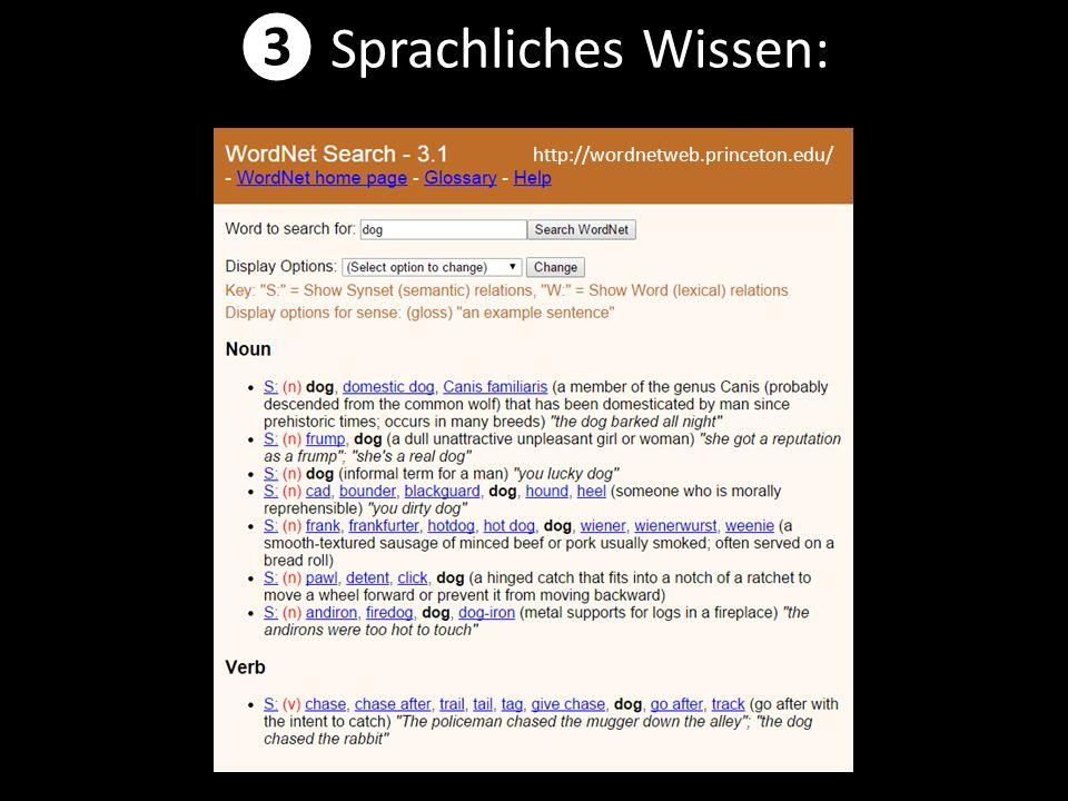 ❸ Sprachliches Wissen: http://wordnetweb.princeton.edu/